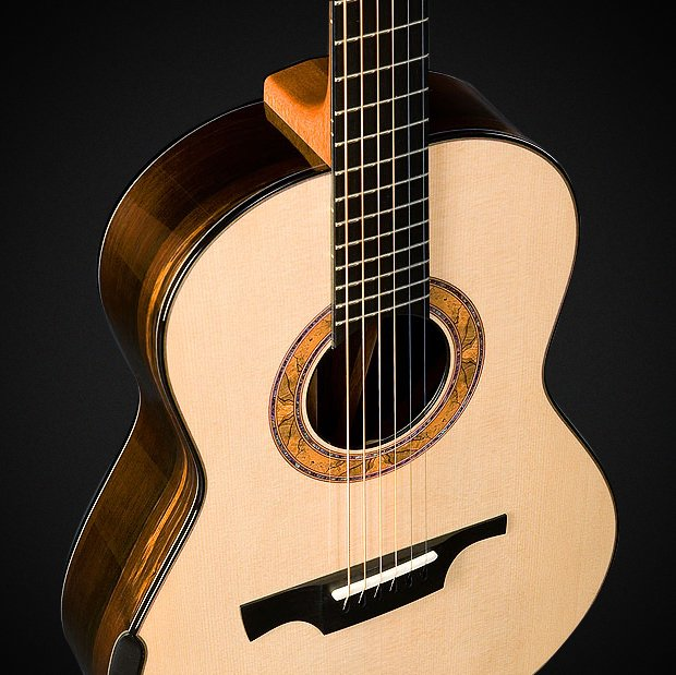 Model G1 - Lutz Spruce Soundboard, Brazilian Rosewood Back and Sides, Proprietary Greenfield Spalted Beech and Paua Rosette, Ebony String-Through Bridge