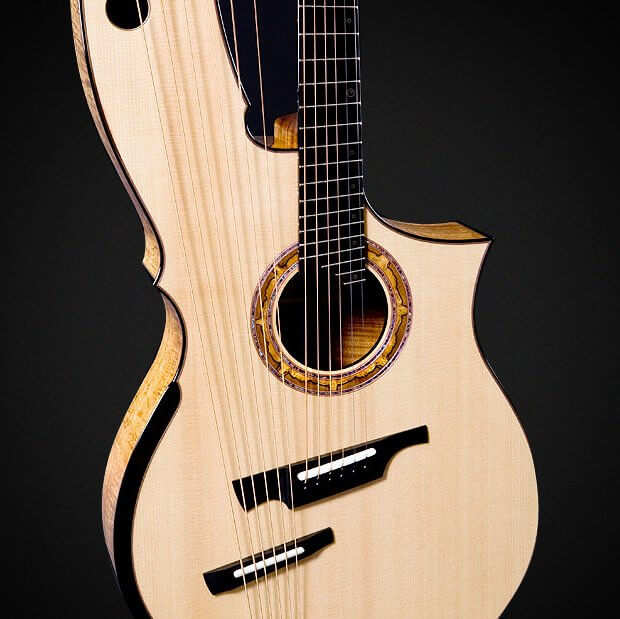 Harp Guitar (Andy McKee) - Lutz Spruce Soundboard, Hawaiian Koa Back and Sides, Reduced Stress Sub Bass Bridge Design