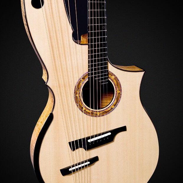 Harp Guitar (Andy McKee) - Lutz Spruce Soundboard, Hawaiian Koa Back and Sides, Reduced Stress Sub Bass Bridge Design