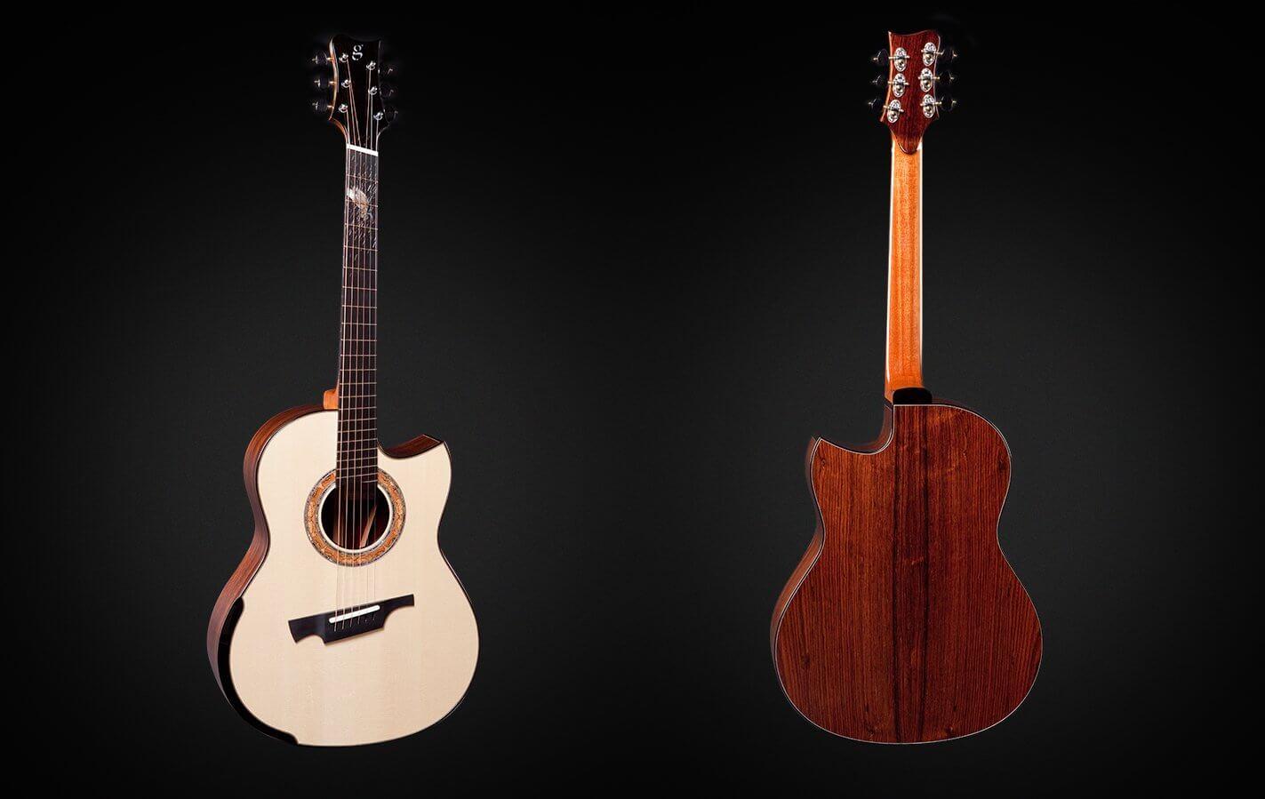 Greenfield Guitars | Fine handmade Acoustic Guitars Model G1, DADGAD fanned fret, Alpine spruce, Amazon rosewood, the dragonfly, Laskin arm rest