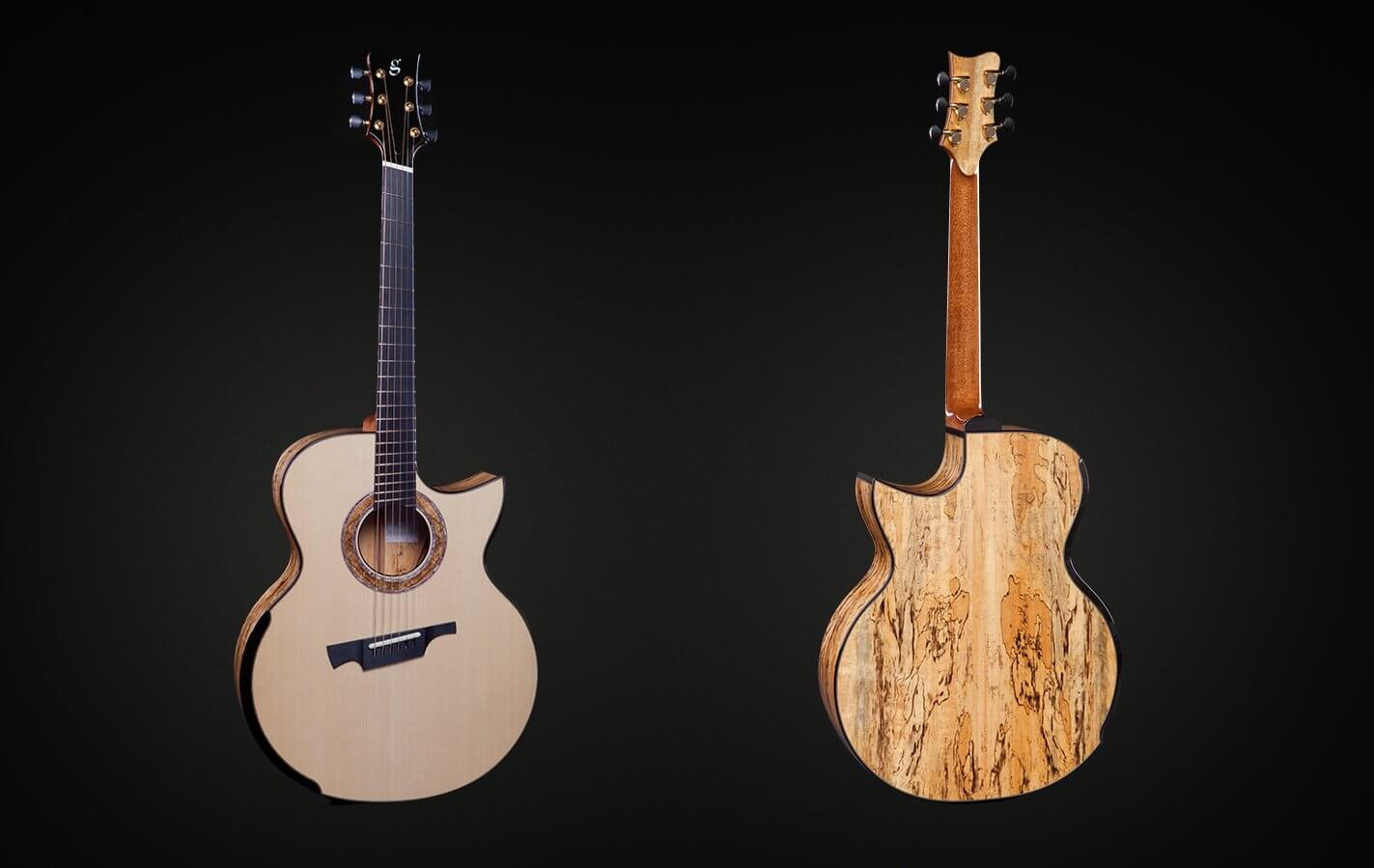 Greenfield Guitars | Fine handmade Acoustic Guitars Model G4, Adirondack red spruce, spalted Manchinga, laskin arm rest, Florentine cutaway, DADGAD fanned frets