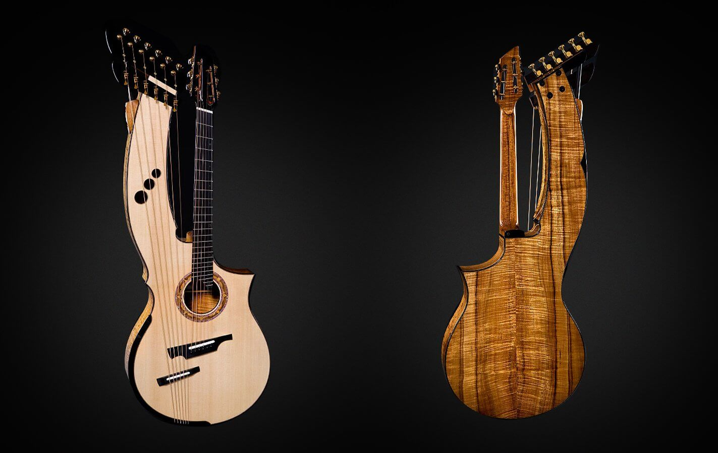 Greenfield Guitars | Fine handmade Acoustic Guitars Model HG, Harp Guitar, Koa, Lutz spruce, sub bass strings, fanned frets, sharping levers, laskin arm rest, dual bridge, low stress system, harp arm, slotted peghead, harp heads