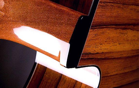 Greenfield Guitars | Fine handmade Acoustic Guitars Model G1, hand carved heel swoosh, Madagascar rosewood.