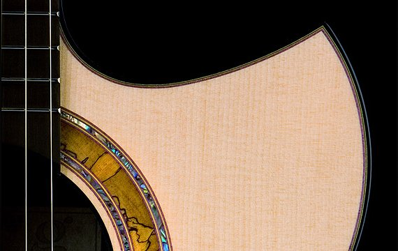 Greenfield Guitars | Fine handmade Acoustic Guitars Florentine cutaway, Greenfield Guitars proprietary spalted beech and paua rosette. Shop made purfling