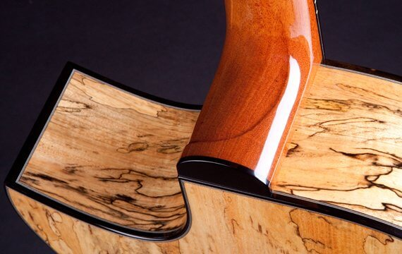 Greenfield Guitars | Fine woodworking, Lutherie, Guitarmaking, Acoustic Guitars, Model G4, spalted Manchinga, Florentine cutaway, mahogany neck, carved heel swoosh