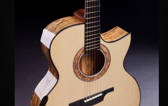 Greenfield Guitars | Fine woodworking, Lutherie, Guitarmaking, Acoustic Guitars, Model G4, Adirondack red spruce, spalted Manchinga, laskin arm rest, Florentine cutaway, DADGAD fanned frets, ebony bridge