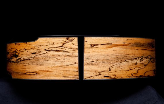 Greenfield Guitars | Fine woodworking, Lutherie, Guitarmaking, Acoustic Guitars, Model G4, spalted Manchinga, laskin arm rest, end graft detail, ebony binding