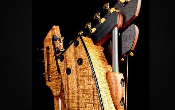 Greenfield Guitars | Fine woodworking, Lutherie, Guitarmaking, Acoustic Guitars, Model HG, harp guitar, harp head detail, Koa, Carbon fiber rod, ebony, slotted peghead