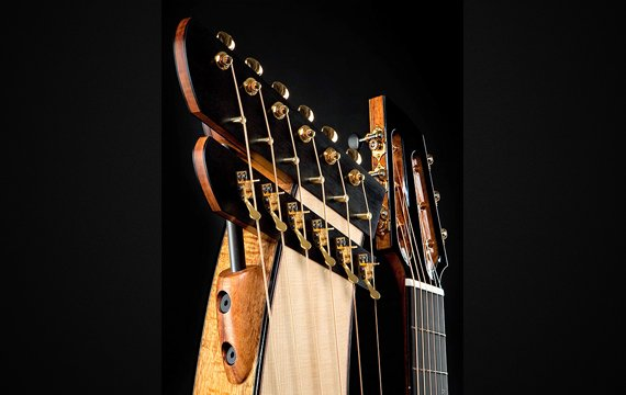 Greenfield Guitars | Fine woodworking, Lutherie, Guitarmaking, Acoustic Guitars, Model HG, harp guitar, harp head detail, Koa, Lutz spruce, Carbon fiber rod, ebony, slotted peghead