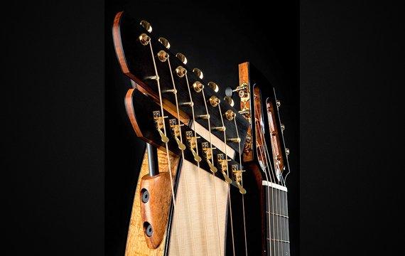 Greenfield Guitars | Fine woodworking, Lutherie, Guitarmaking, Acoustic Guitars, Model HG, harp guitar, harp head detail, Koa, Lutz spruce, Carbon fiber rod, ebony, slotted peghead