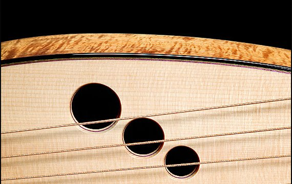 Greenfield Guitars | Fine woodworking, Lutherie, Guitarmaking, Acoustic Guitars, Model HG, harp arm detail, sound holes, Koa, sub bass strings