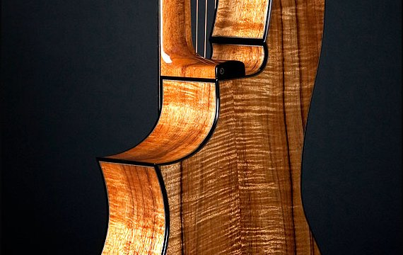 Greenfield Guitars | Fine woodworking, Lutherie, Guitarmaking, Acoustic Guitars, Model HG, harp guitar, Florentine cutaway detail, Koa, ebony binding, neck joint detail