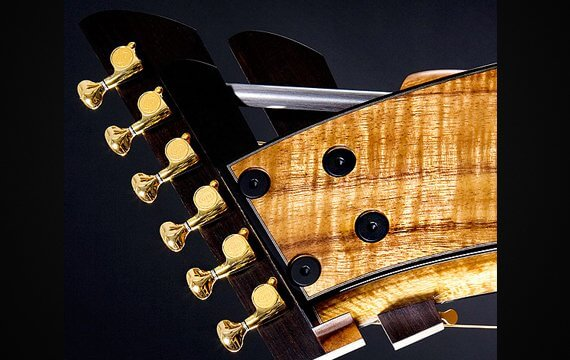 Greenfield Guitars | Fine woodworking, Lutherie, Guitarmaking, Acoustic Guitars, Model HG, harp guitar, harp head detail, Koa, Carbon fiber rod, ebony, harp arm peghead
